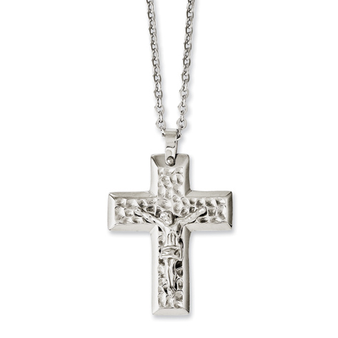 Stainless Steel 1 3/8in Textured Crucifix Necklace