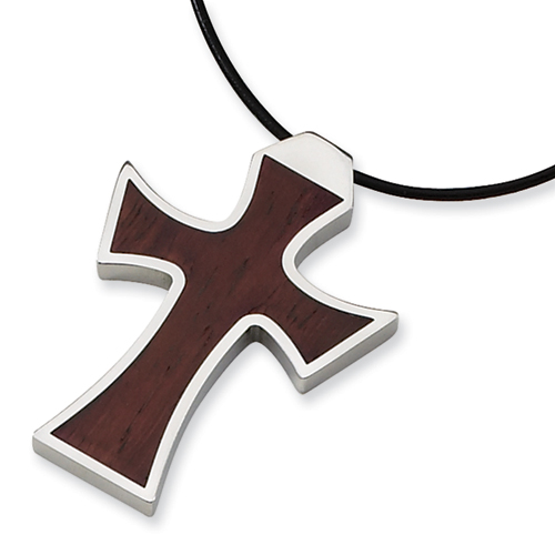Stainless Steel Wood Cross 1 3/4in with Leather Cord