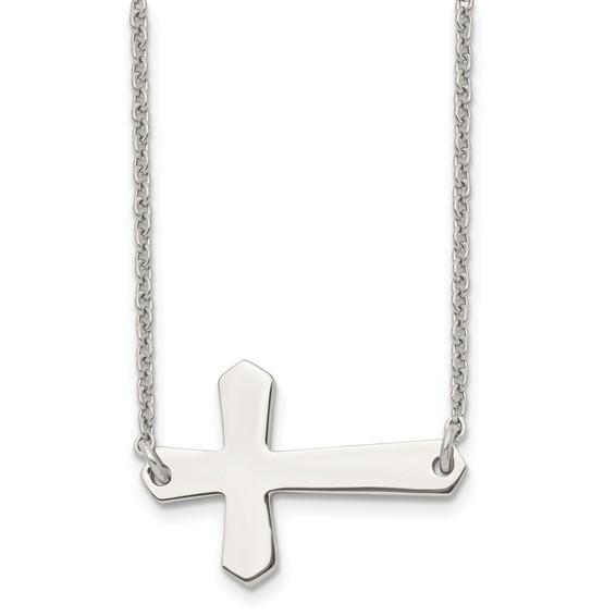 Stainless Steel 1 1/4in Sideways Cross on 21in Necklace