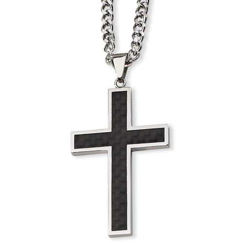 Stainless Steel Carbon Fiber Cross 1 7/8in with 24in Cable Chain