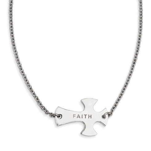 Stainless Steel Faith Large Sideways Cross on 19in Necklace
