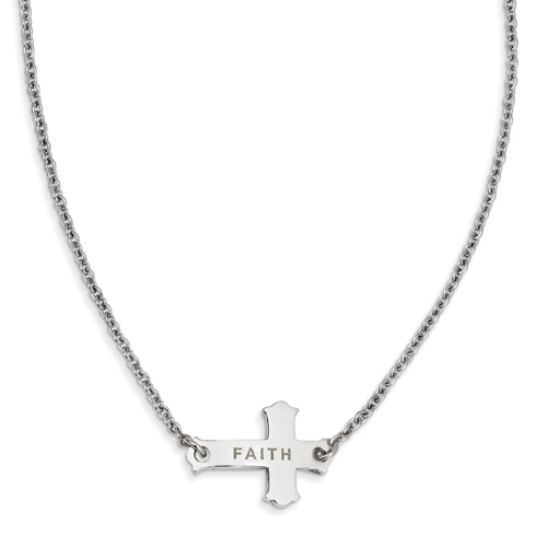 Stainless Steel Faith Small Sideways Cross on 19in Necklace