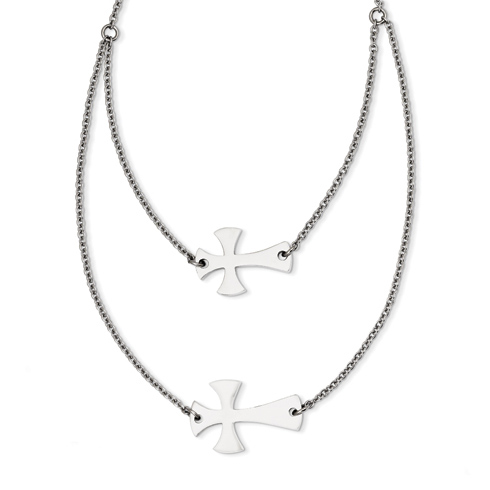 Stainless Steel Double Sideways Cross Layered on 16in Necklace