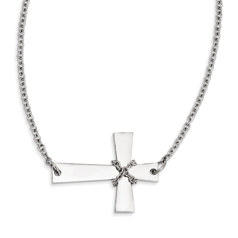 Stainless Steel 1 1/4in Sideways Cross with Wrapped Chain Necklace