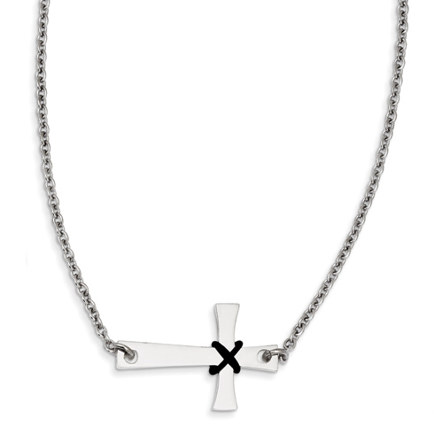 Stainless Steel Sideways Cross with Rubber Accent on 19in Necklace