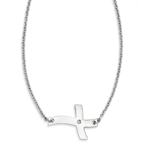 Stainless Steel 1 1/4in Fancy Sideways Cross with CZ on 21in Necklace