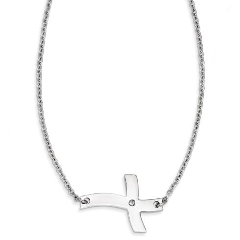 Stainless Steel 1 1/4in Fancy Sideways Cross with CZ on 21in Necklace