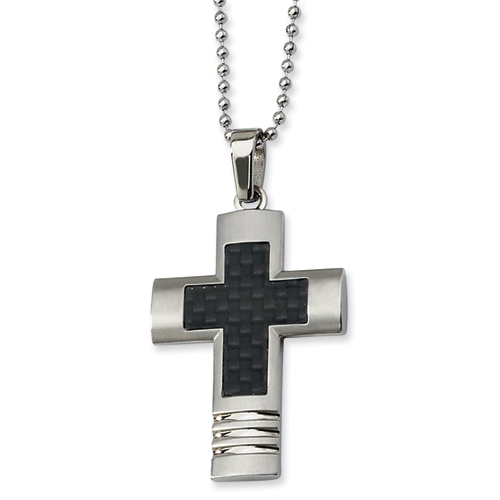 Stainless Steel Cross 1 3/4in with Bead Chain