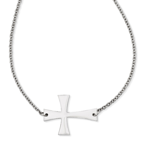 Stainless Steel 1 1/2in Sideways Cross on 21in Necklace