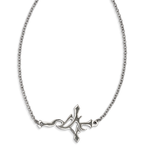 Stainless Steel 1 1/2in Gothic Sideways Cross on 21in Necklace