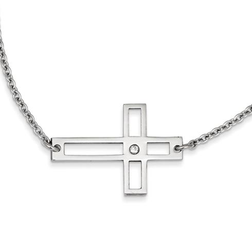 Stainless Steel 1 1/4in Cross Cut Out Sideways Cross on 21in Necklace