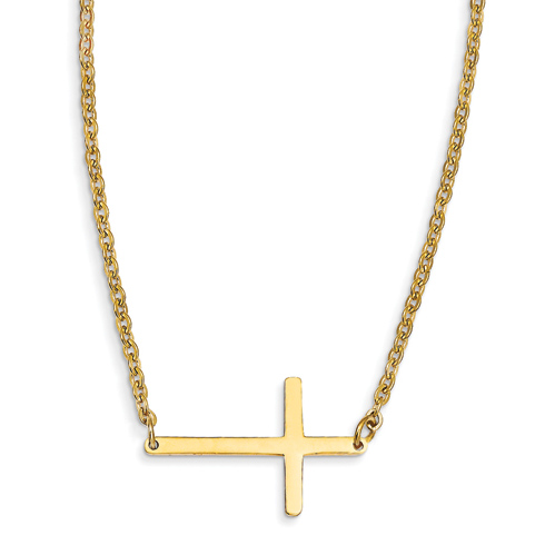 Stainless Steel 1in Yellow Plated Sideways Cross 18in Necklace