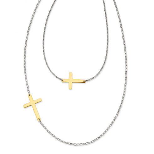 Stainless Steel Double Sideways Cross Layered on 1in Necklace