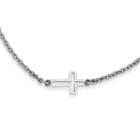 Stainless Steel 1/2in Cut Out Sideways Cross on 18in Necklace