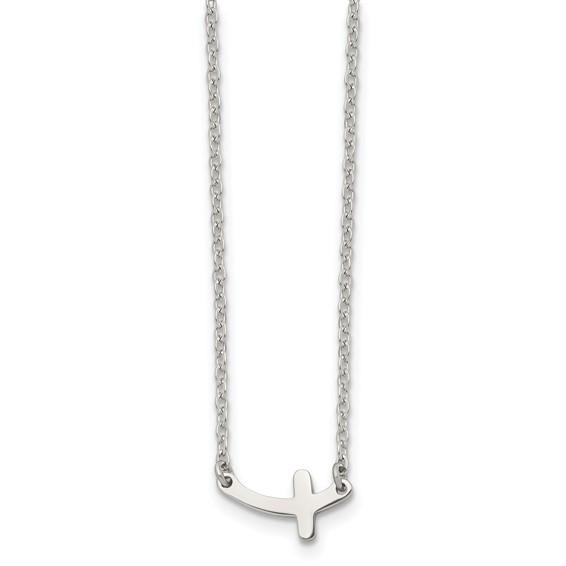 Stainless Steel 1/2in Sideways Cross on 18in Necklace