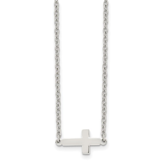 Stainless Steel 1/2in Smooth Sideways Cross 18in Necklace