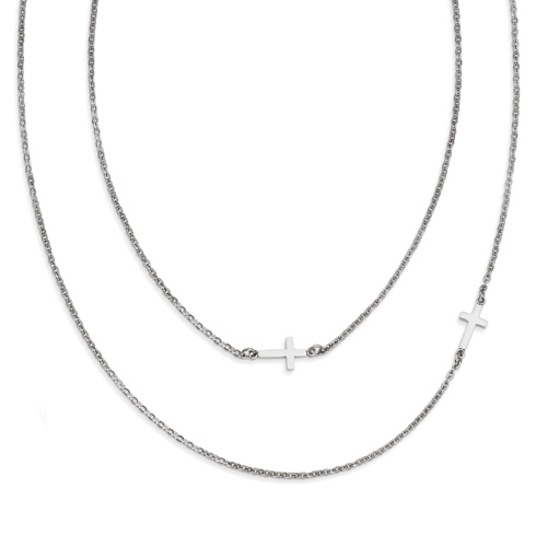 Stainless Steel Layered Sideways Cross on 18in Necklace