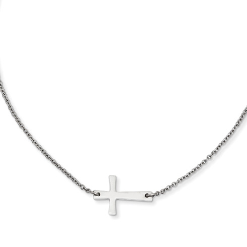 Stainless Steel 3/4in Sideways Cross on 16in Necklace
