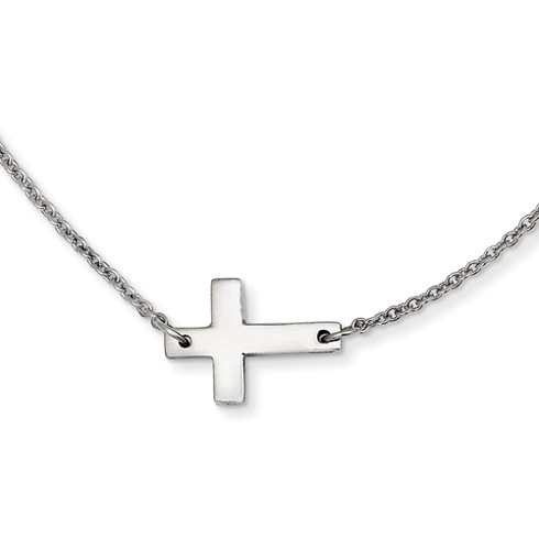 Stainless Steel 5/8in Sideways Cross on 16in Necklace