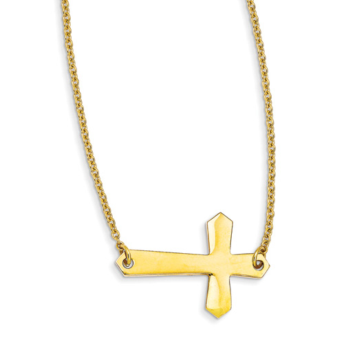 Stainless Steel Yellow IP-plated Sideways Cross 21in Necklace