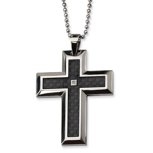 Stainless Steel 2in Diamond Carbon Fiber Cross on 24in Chain