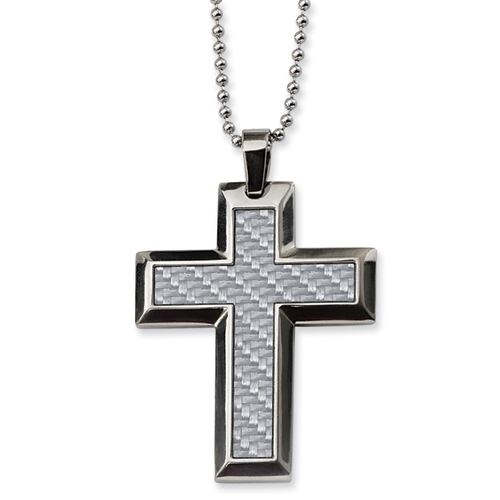 Jumbo Stainless Steel Cross 2in with Bead Chain
