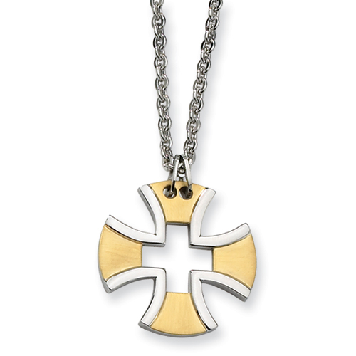 1 1/8in Stainless Steel Gold-plated Cross Necklace 18in