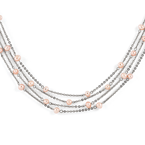Stainless Steel 4 Strand Freshwater Cultured Pearl Necklace