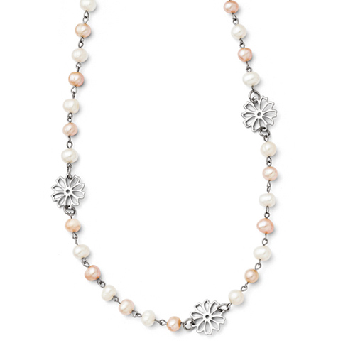Stainless Steel 32 1/2in Slip-on Freshwater Cultured Pearl with Flowers Necklace