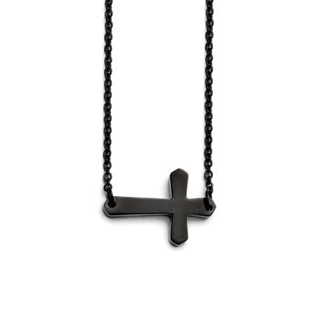 Black Stainless Steel 3/4in Sideways Cross Necklace