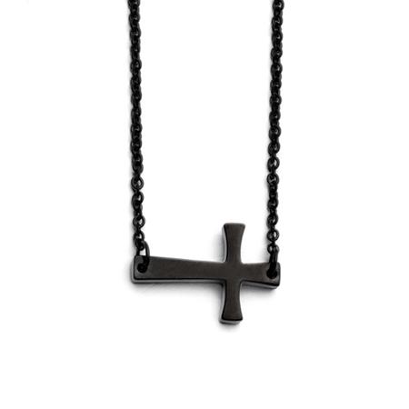 Black Stainless Steel 3/4in Sideways Crusader Cross Necklace