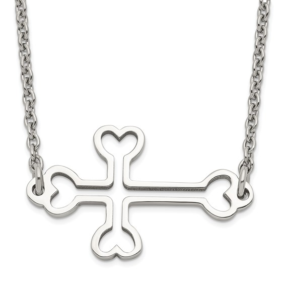 Stainless Steel 1 1/4in Cut out Sideways Cross Necklace