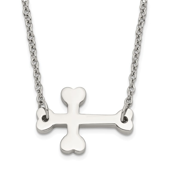 Stainless Steel 5/8in Budded Sideways Cross Necklace
