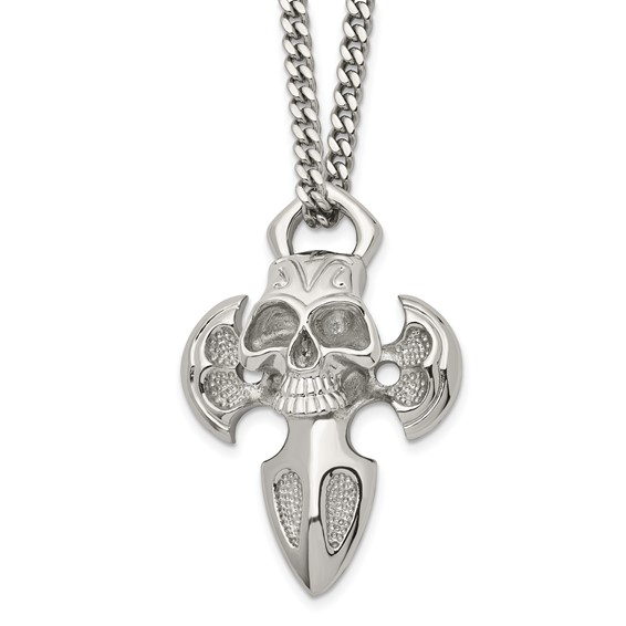Stainless Steel 1 5/8in Skull Cross on 24in Necklace