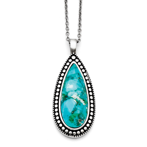 Stainless Steel 18in Simulated Turquoise Tear Drop Necklace