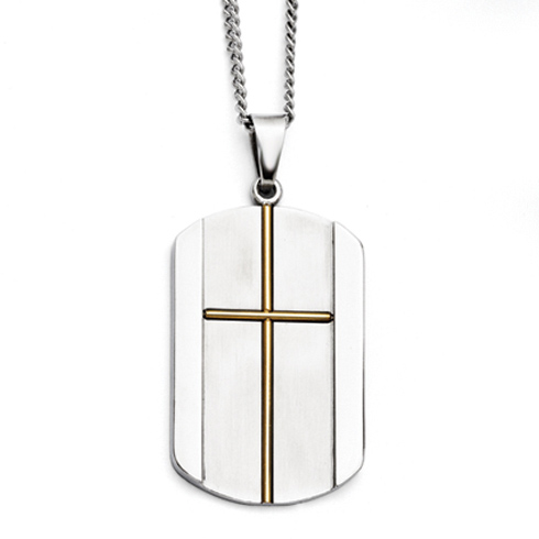 Stainless Steel 1 1/2in Yellow Ion Plated Dog Tag Cross Necklace