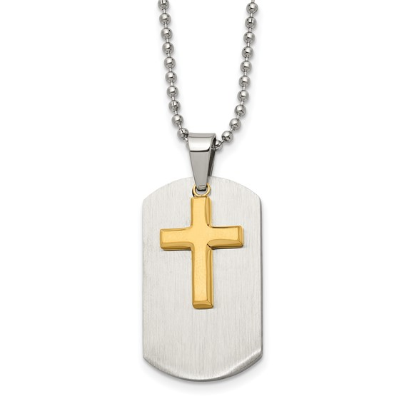 Stainless Steel 1 1/4in Yellow Ion Plated Movable Cross Dog Tag Necklace
