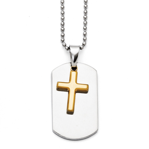Stainless Steel 1 1/4in Yellow Plated Moveable Cross Dog Tag Necklace