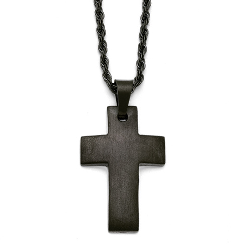 Black Stainless Steel 1 1/4in Brushed Cross Necklace