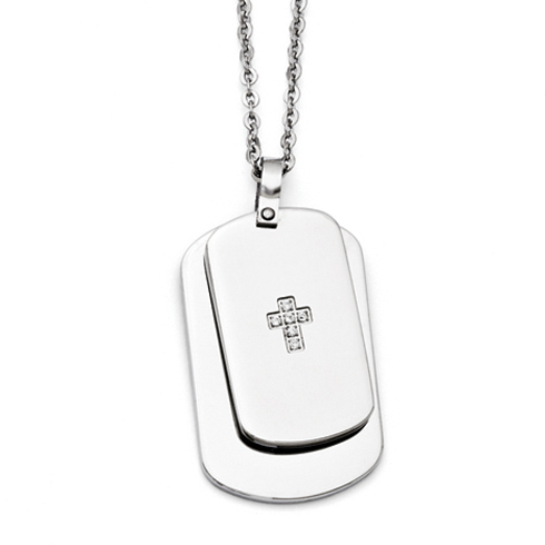 Stainless Steel 1 1/2in Movable Dog Tag Cross Necklace