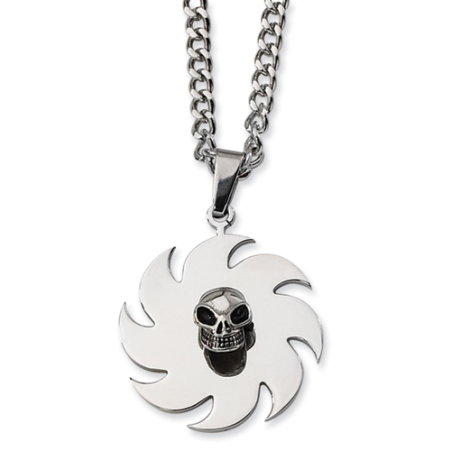 1 3/8in Stainless Steel Skull and Saw Blade 24in Necklace