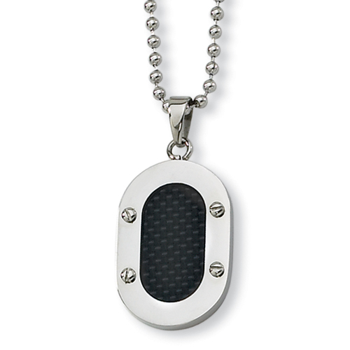 1 1/8in Stainless Steel Black Carbon Fiber Polished Necklace 22in