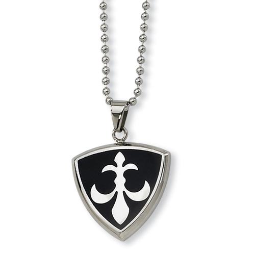 1 1/8in Stainless Steel Fleur De Lis Necklace 24in