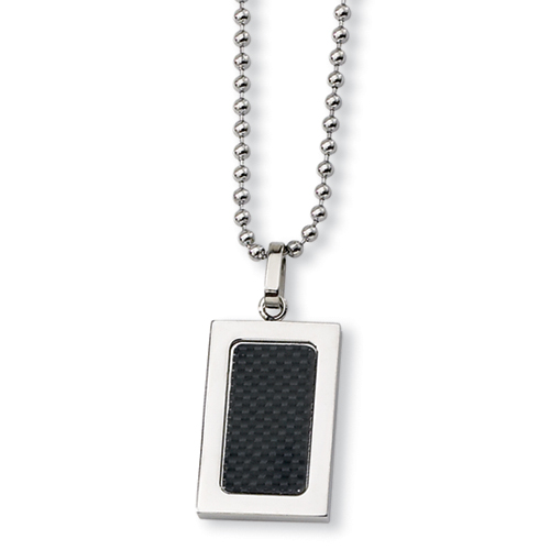 1in Stainless Steel Black Carbon Fiber Polished Necklace 22in