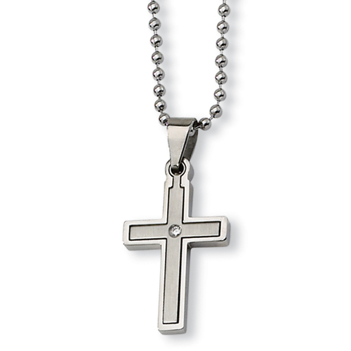 Stainless Steel 1 1/4in Diamond Cross with 22in Bead Chain