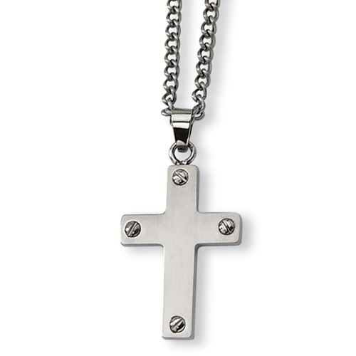 Stainless Steel Cross 1 1/8in with Cable Chain