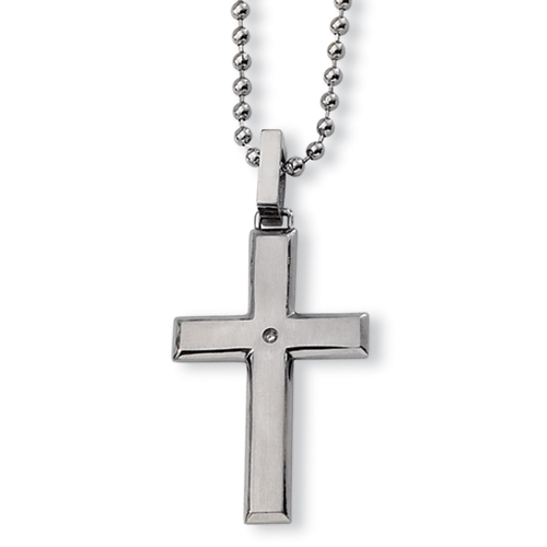 Diamond Stainless Steel  1 1/2in Cross with Bead Chain