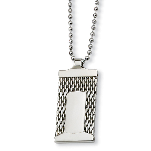 Stainless Steel Mesh Dog Tag on 24in Necklace