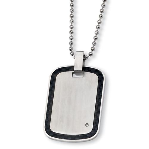 24in Stainless Steel Black Carbon Fiber 1.5pt Diamond Necklace
