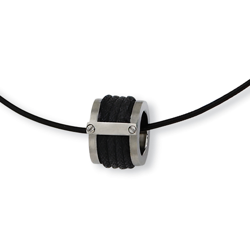 5/8in Stainless Steel Leather Accent Brushed Necklace 18in